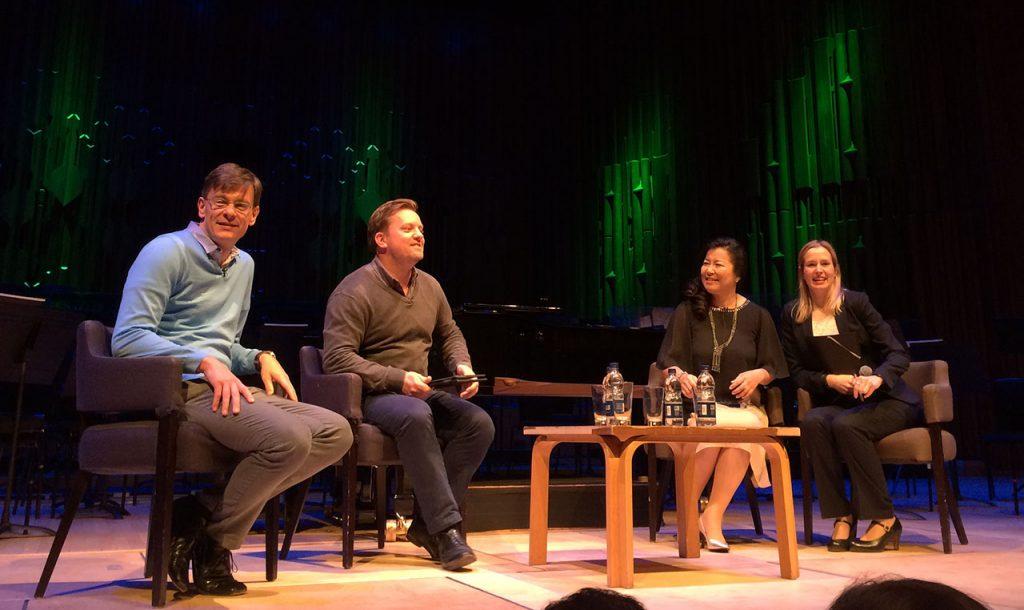 Séance de discussion d'avant-concert avec Eckehard Stier (chef d'orchestre), Gareth Davies (première flûte solo et président du LSO), et Yôko Shimomura