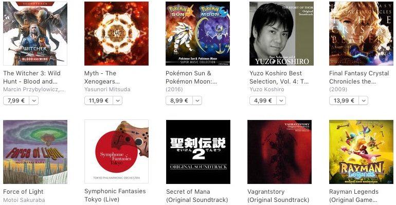 Exemples d'albums liés à la musique de jeu trouvables sur iTunes